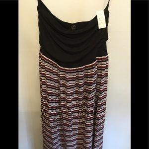 Loft Strapless Chiffon Maxi Tube Dress M